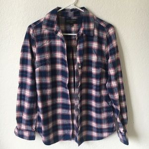 Blue and pink plaid Banana Republic flannel